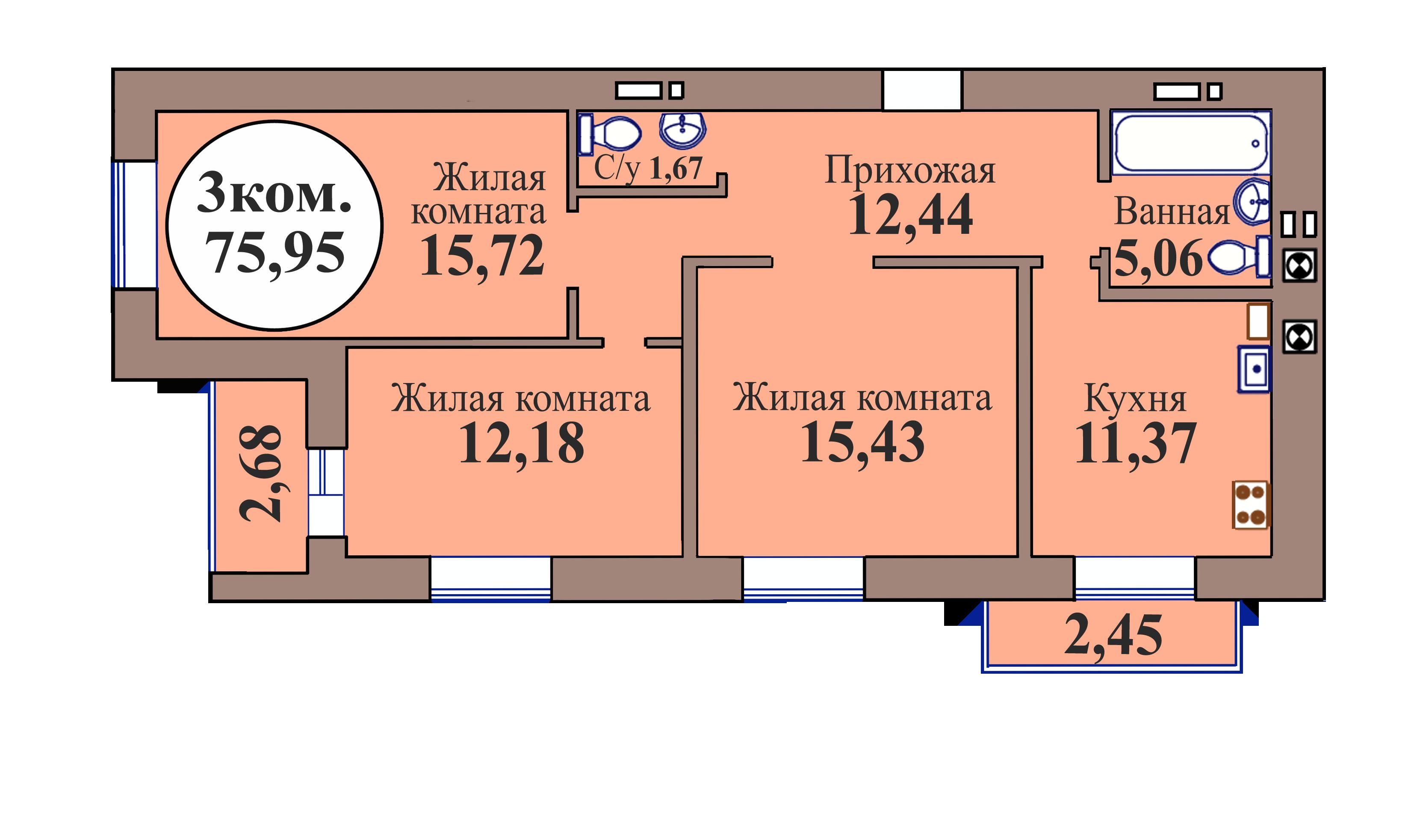 3-комн. кв. по ГП дом №3, МКР Васильково, кв. 212 в Калининграде