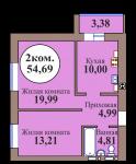 2-комн. кв. по пер. Калининградский, 5 кв. 215 в Калининграде