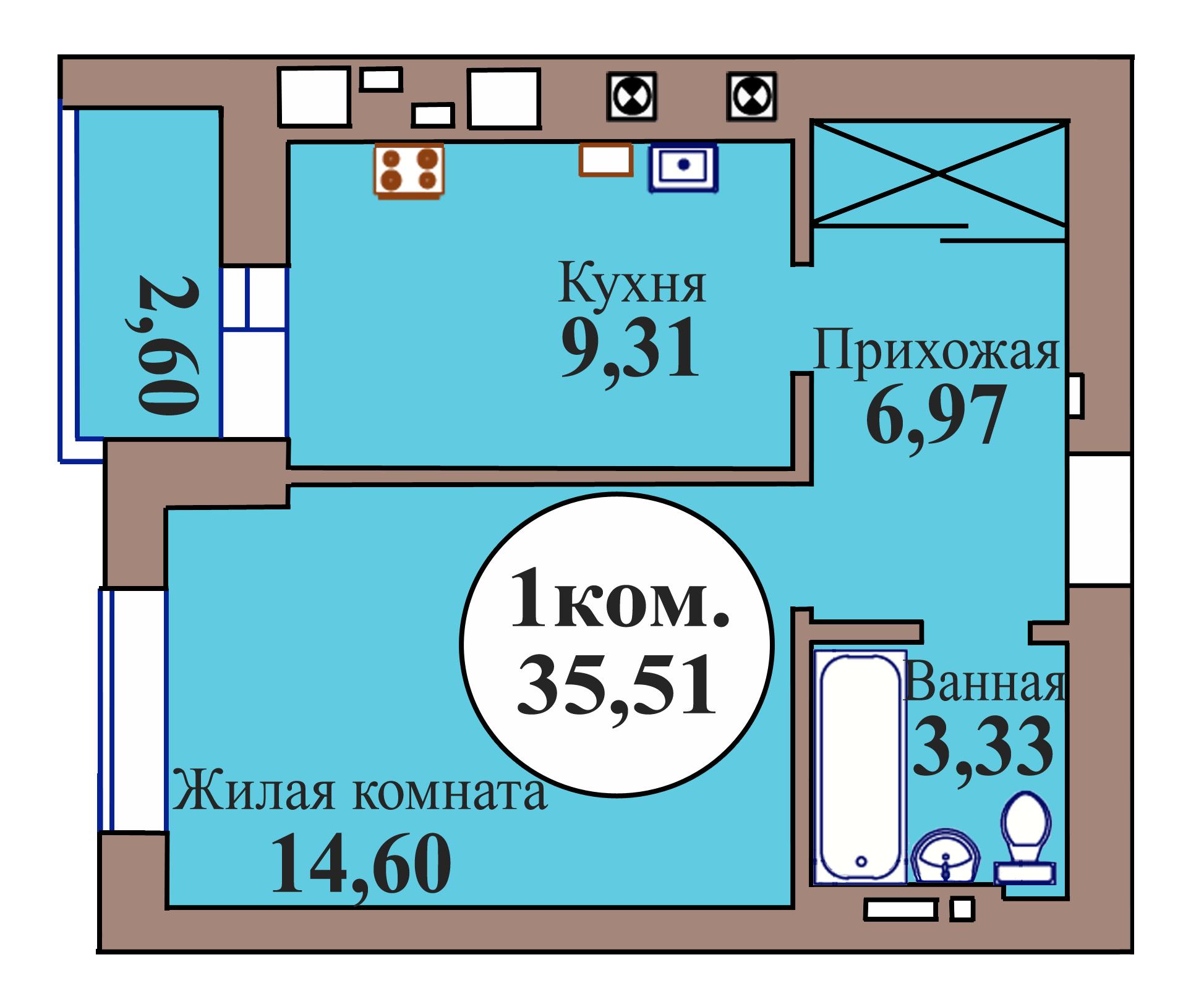 1-комн. кв. по пер. Калининградский, 5 кв. 22 в Калининграде