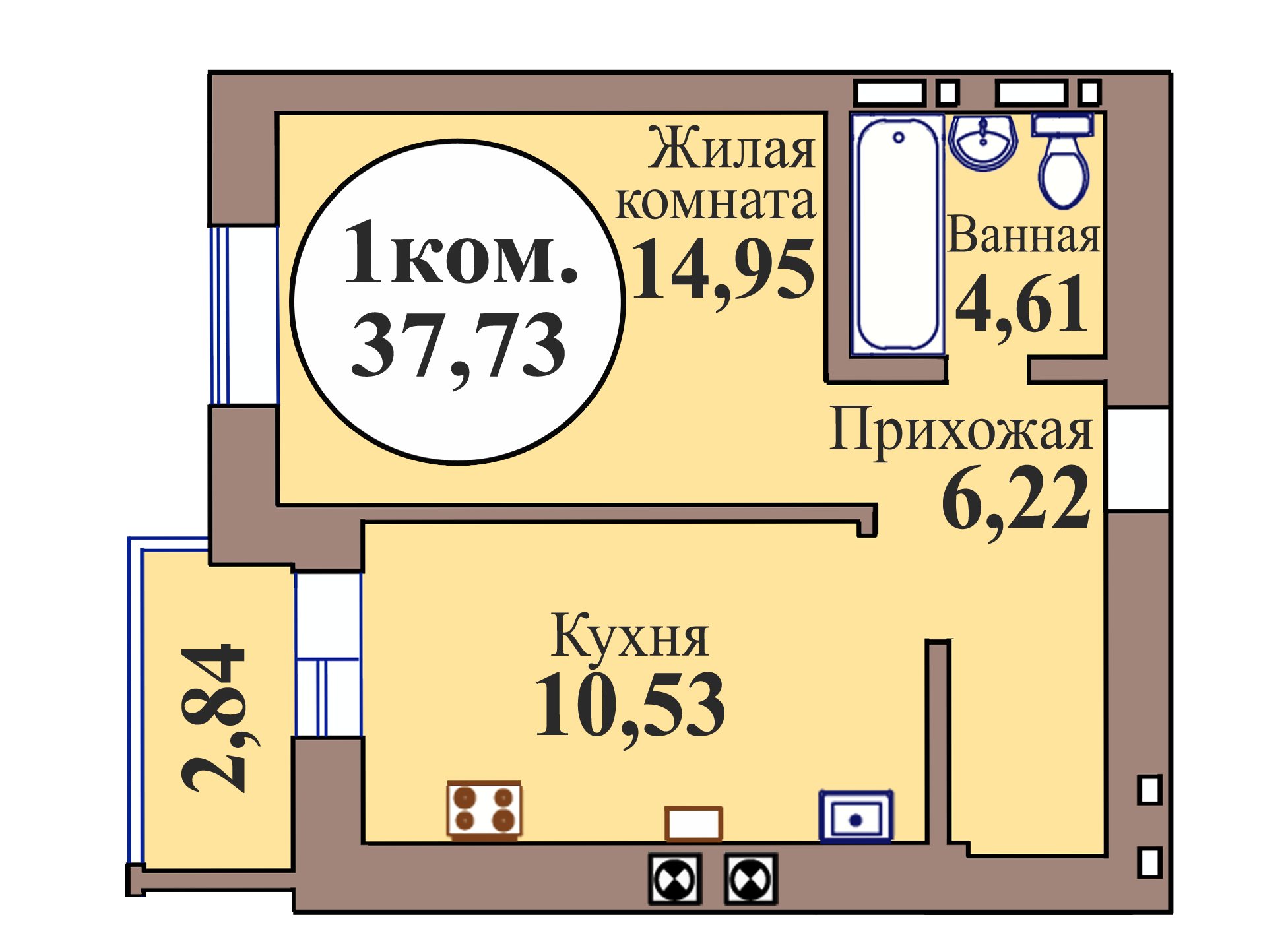 1-комн. кв. по пер. Калининградский, 5 кв. 220 в Калининграде