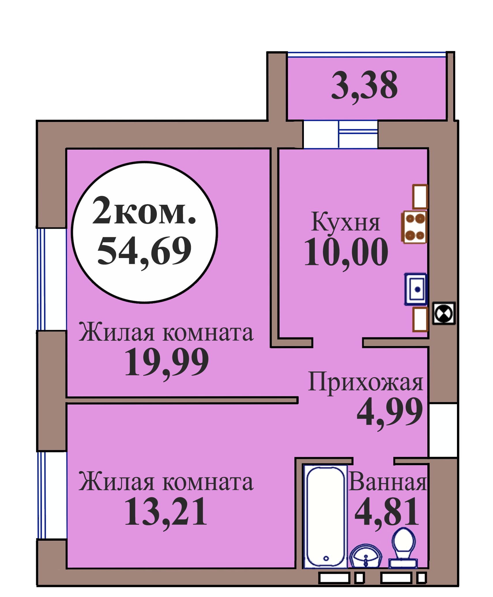 2-комн. кв. по пер. Калининградский, 5 кв. 227 в Калининграде