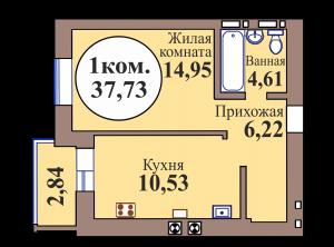 1-комн. кв. по ГП дом №3, МКР Васильково, кв. 232 в Калининграде