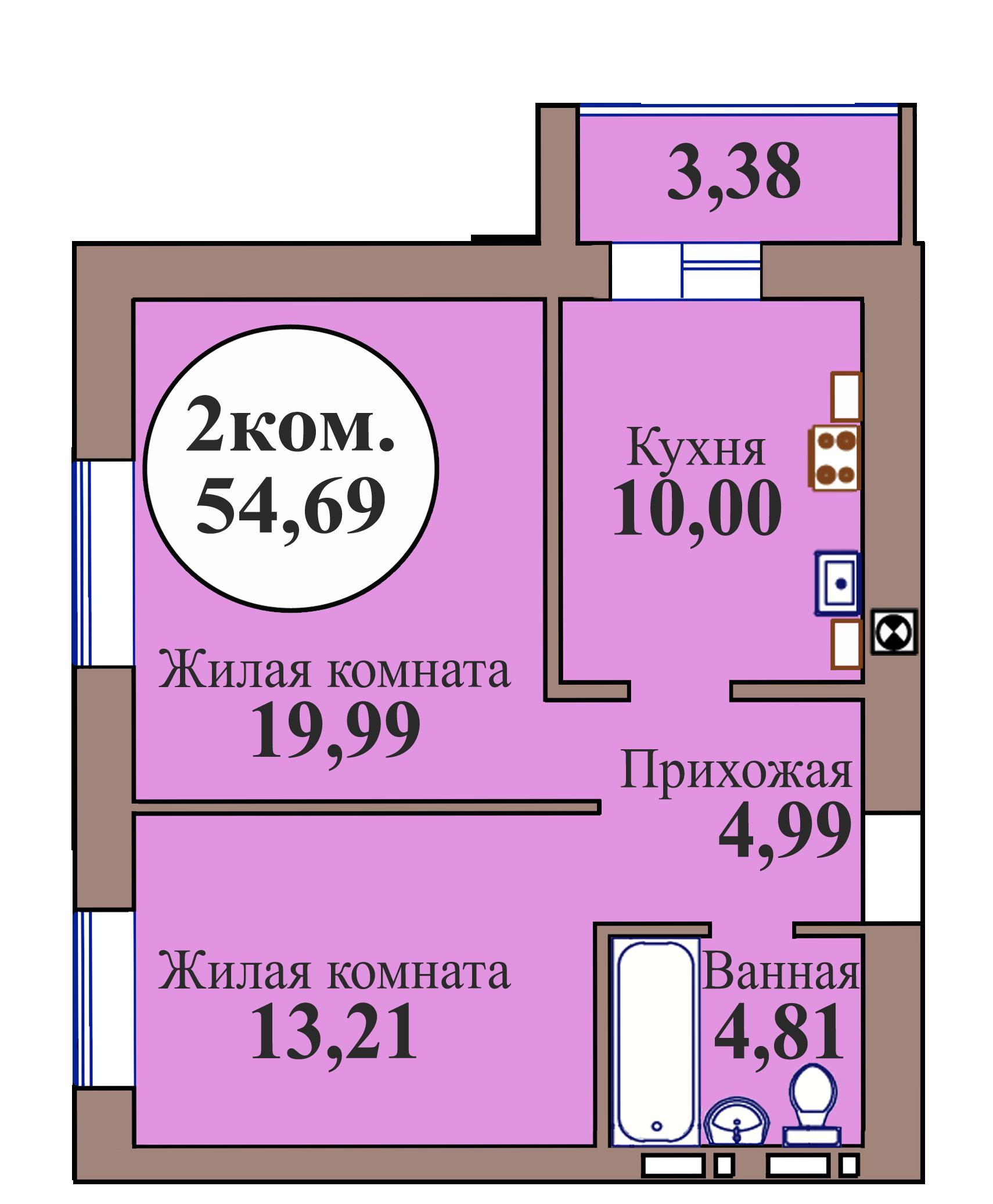 2-комн. кв. по пер. Калининградский, 5 кв. 233 в Калининграде