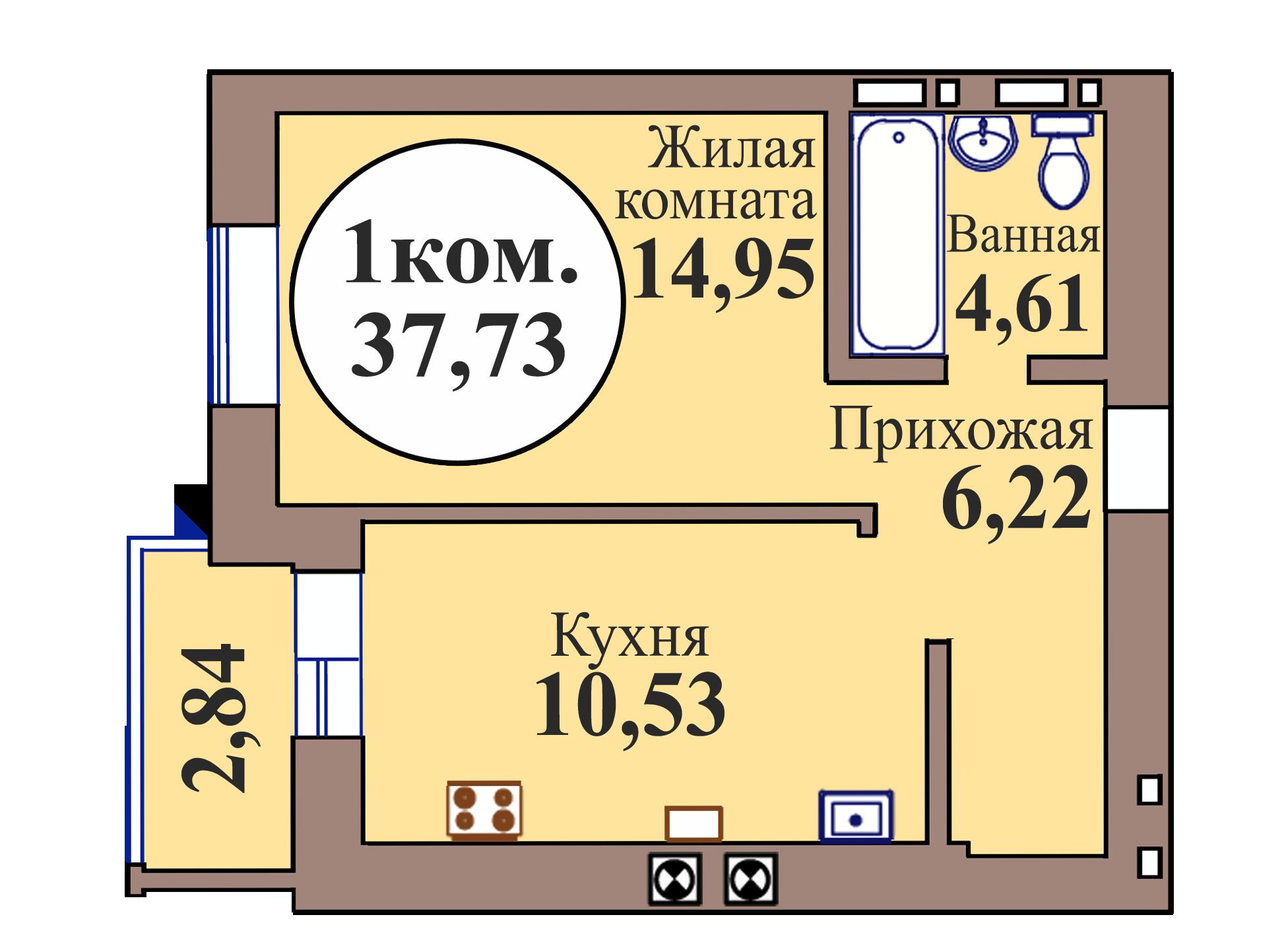 1-комн. кв. по пер. Калининградский, 5 кв. 238 в Калининграде