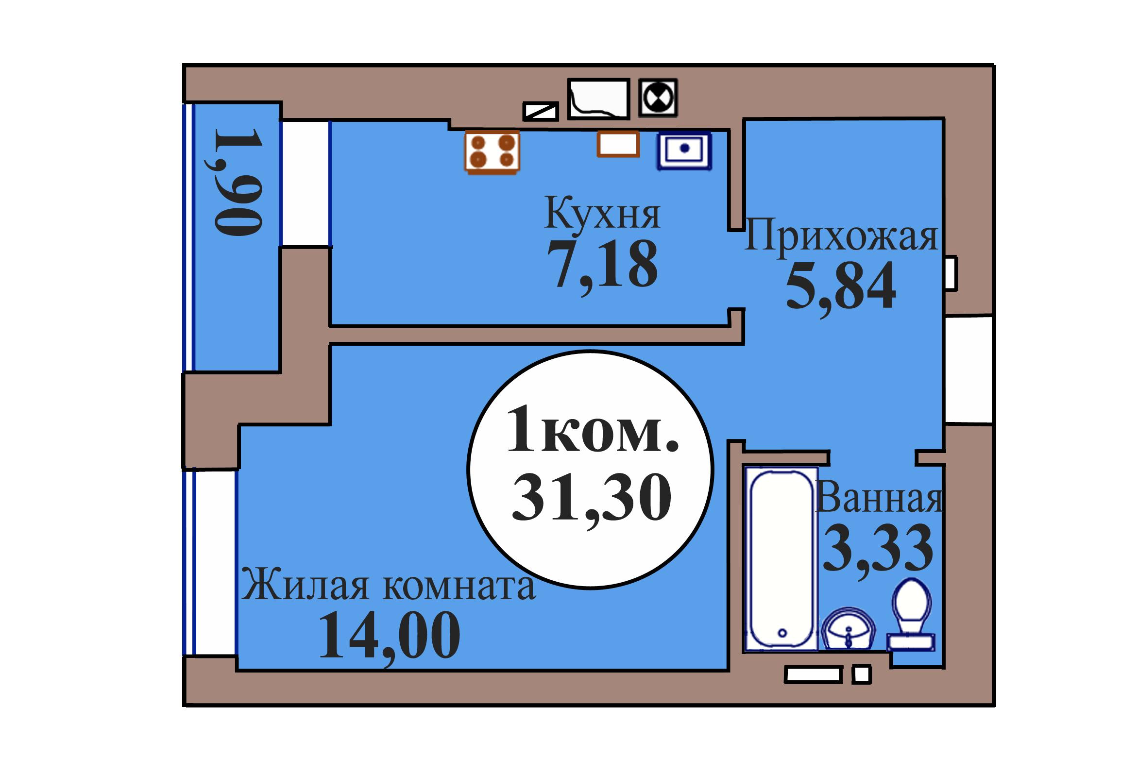1-комн. кв. по пер. Калининградский, 5 кв. 4 в Калининграде