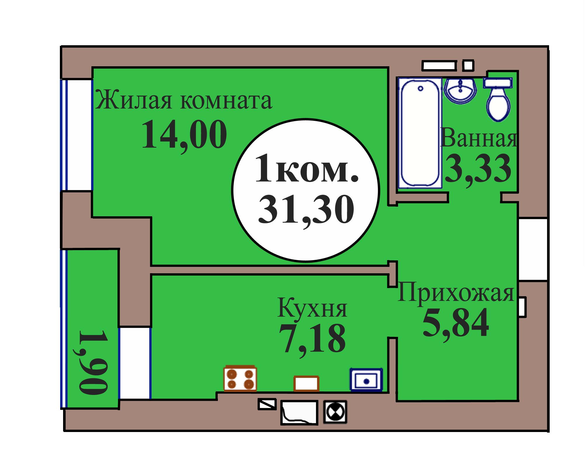 1-комн. кв. по пер. Калининградский, 5 кв. 43 в Калининграде
