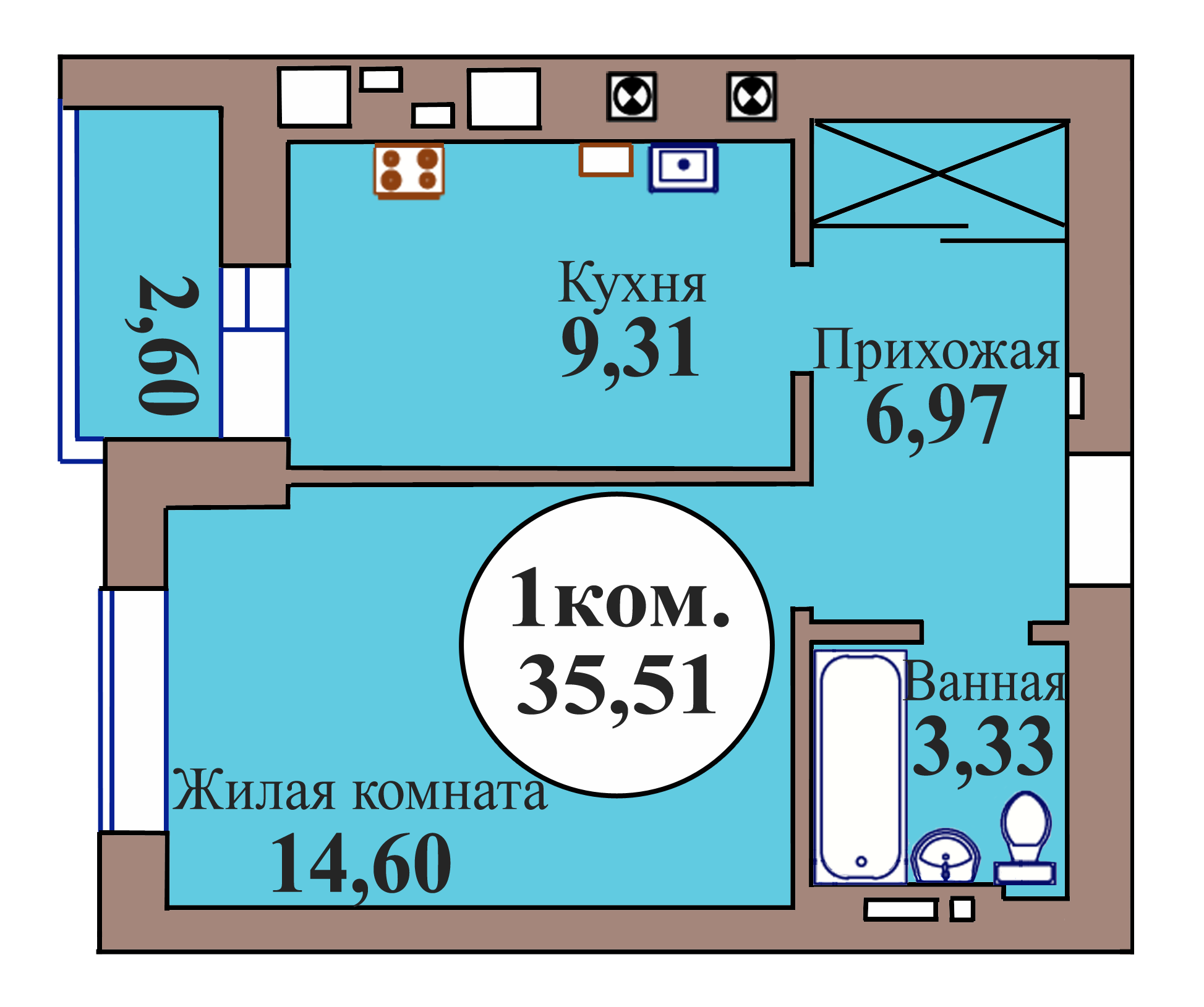 1-комн. кв. по пер. Калининградский, 5 кв. 46 в Калининграде