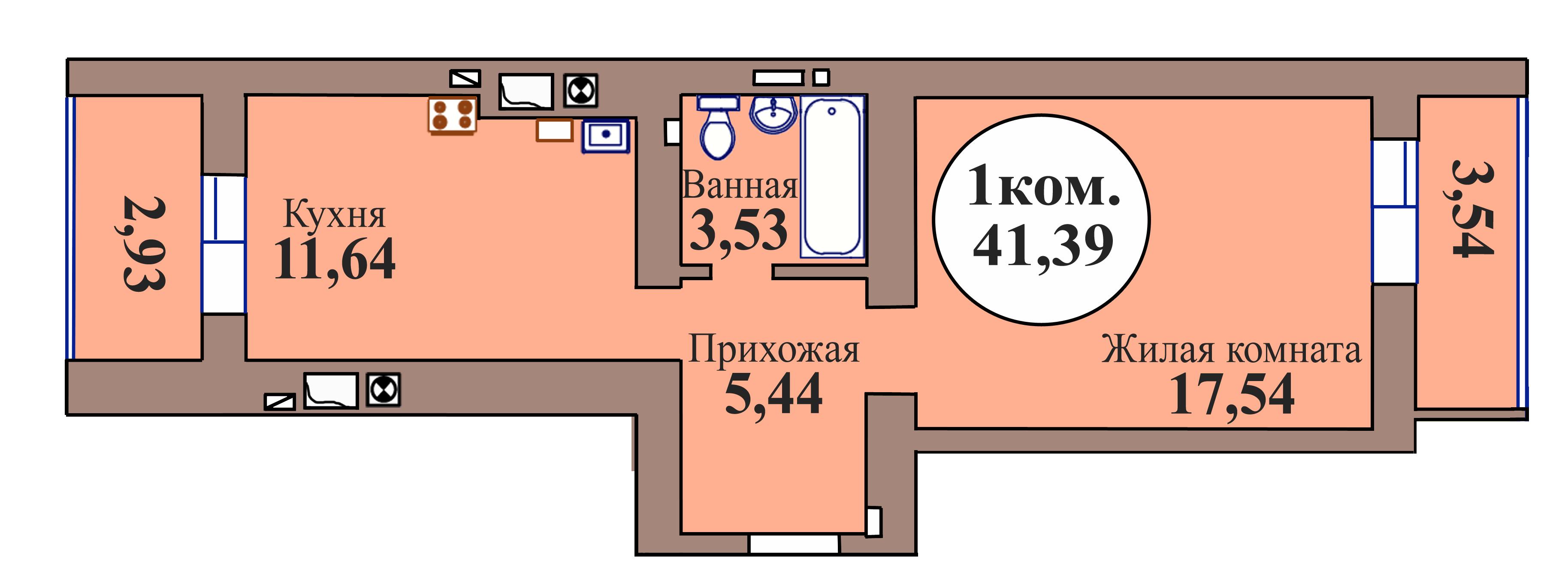 1-комн. кв. по пер. Калининградский, 5 кв. 47 в Калининграде