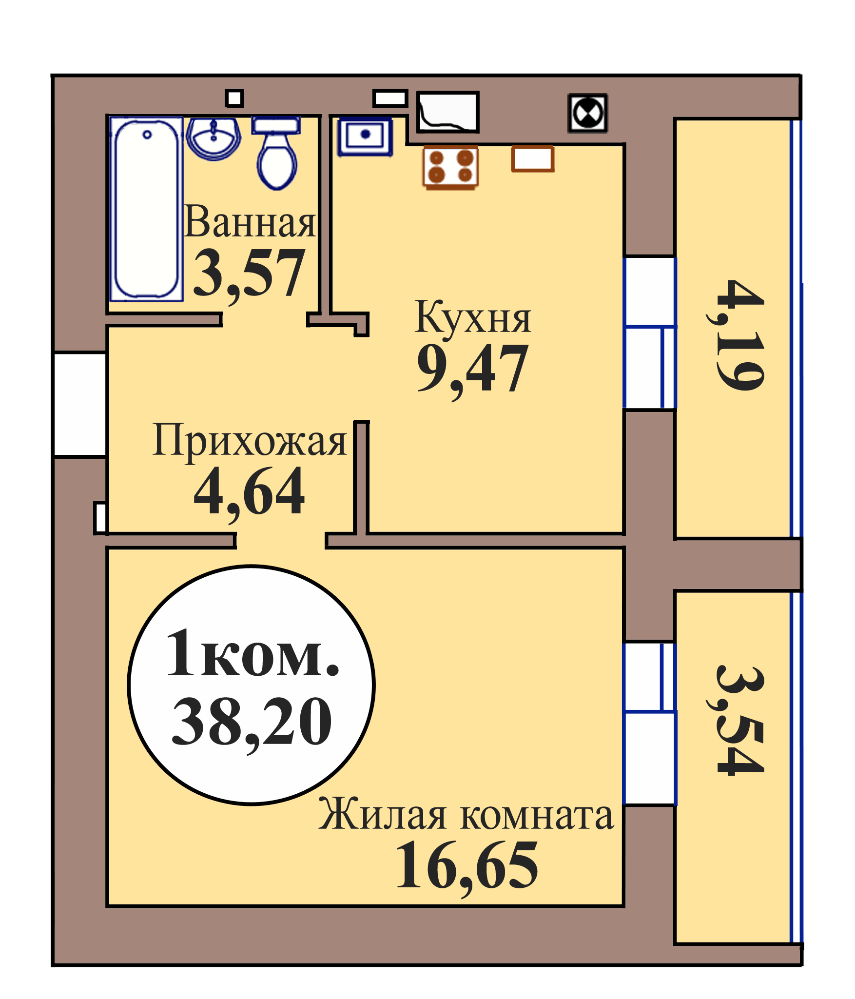1-комн. кв. по ГП дом №3, МКР Васильково, кв. 49 в Калининграде