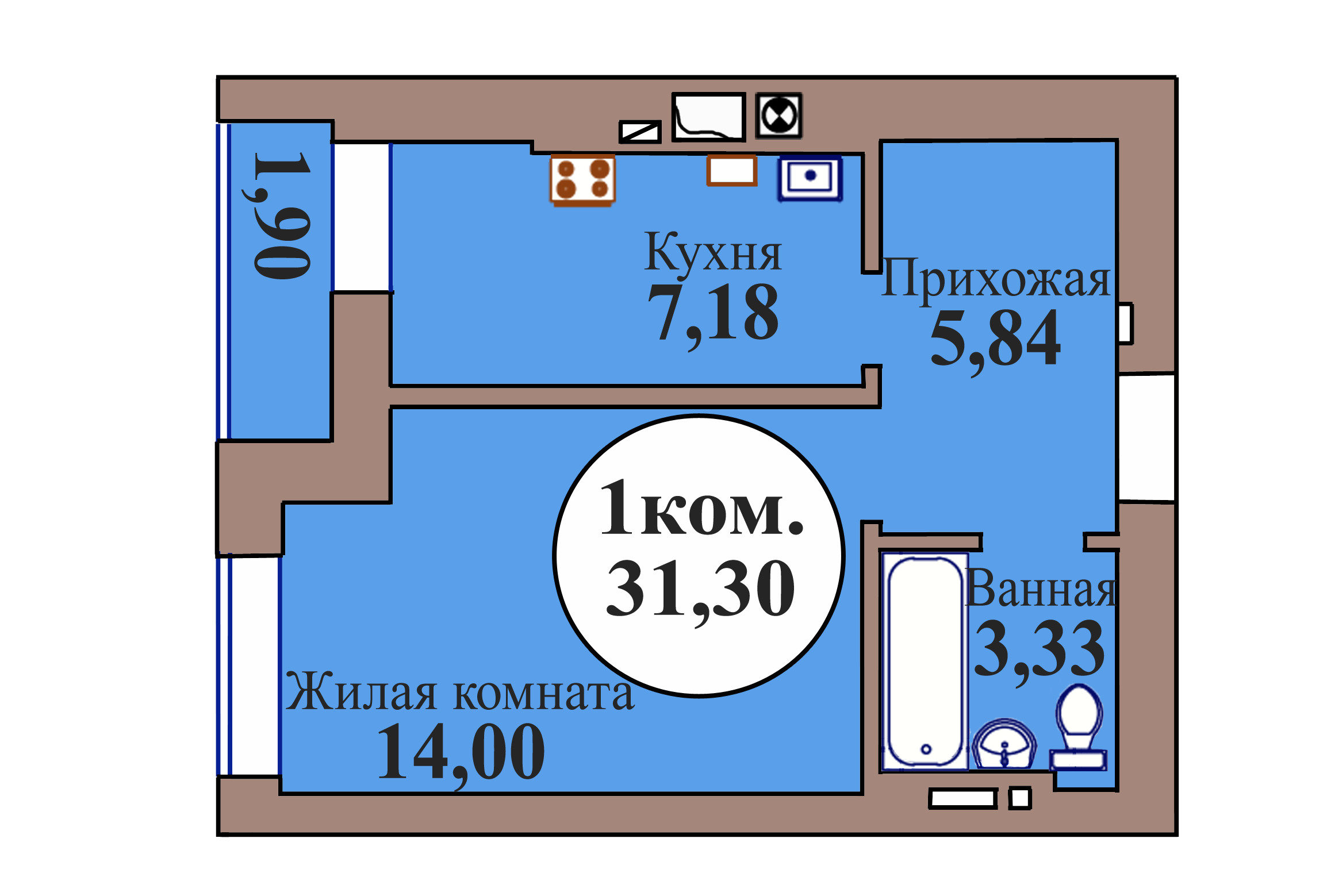 1-комн. кв. по пер. Калининградский, 5 кв. 52 в Калининграде