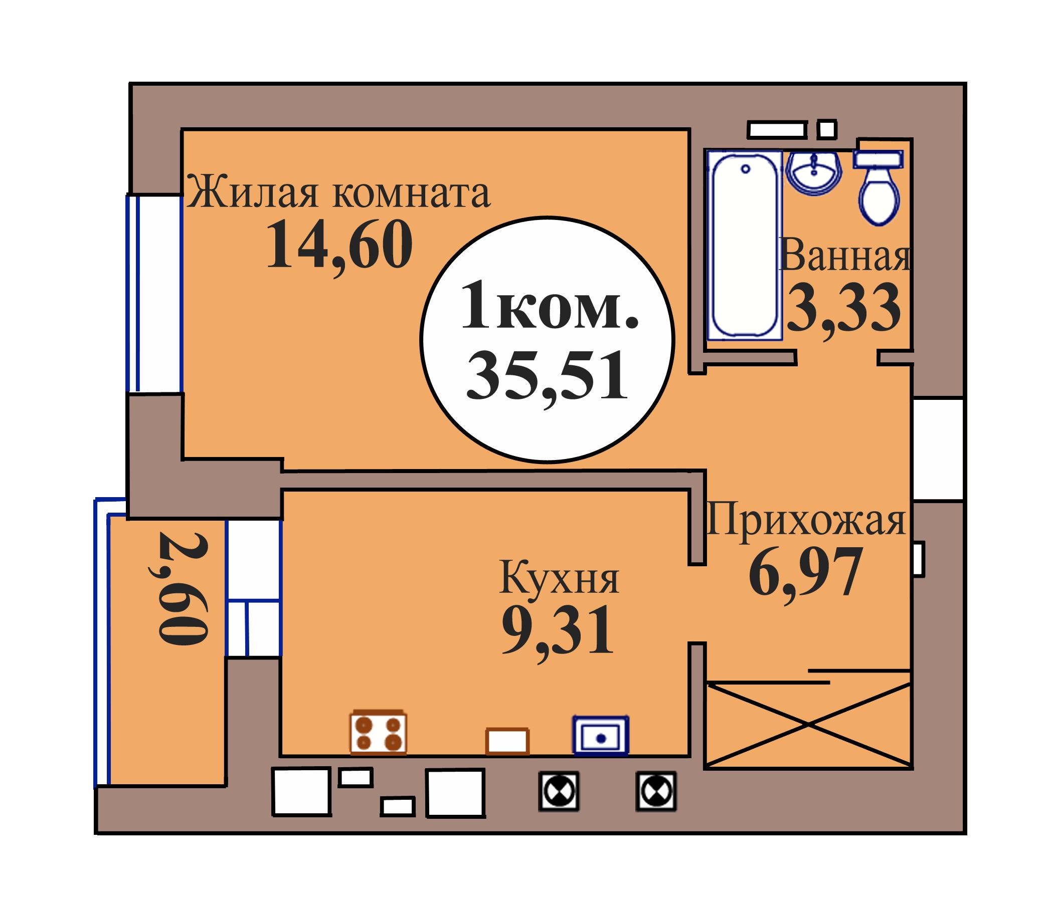 1-комн. кв. по пер. Калининградский, 5 кв. 53 в Калининграде