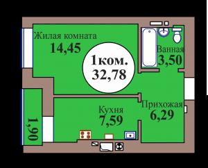 1-комн. кв. по ГП дом №3, МКР Васильково, кв. 67 в Калининграде