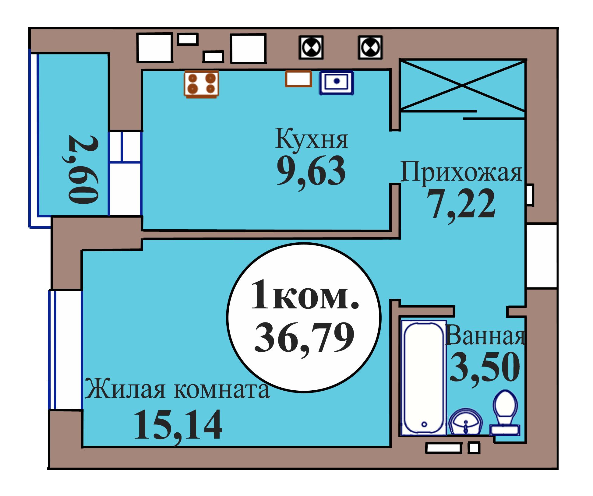 1-комн. кв. по пер. Калининградский, 5 кв. 68 в Калининграде