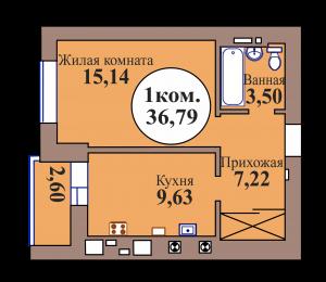 1-комн. кв. по ГП дом №3, МКР Васильково, кв. 69 в Калининграде
