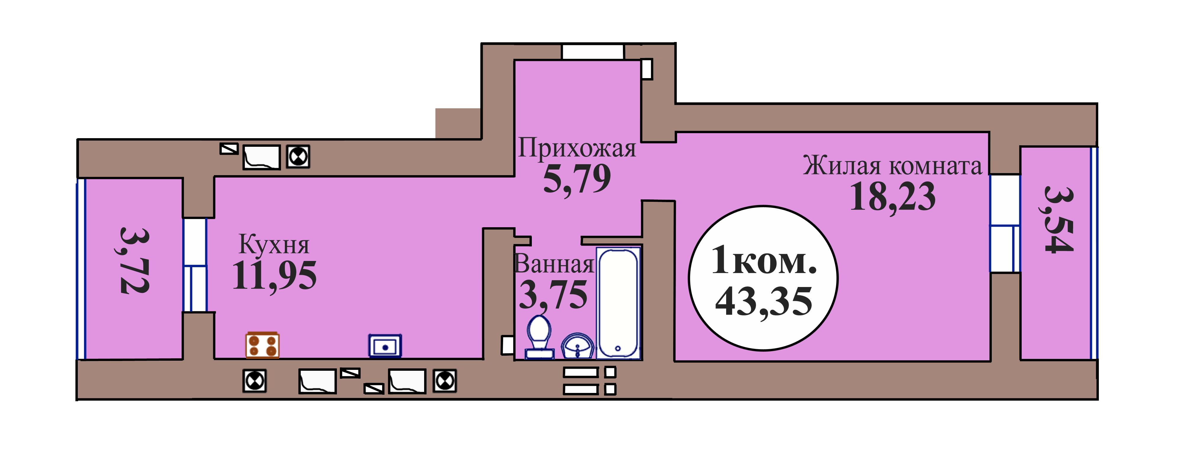 1-комн. кв. по пер. Калининградский, 5 кв. 74 в Калининграде