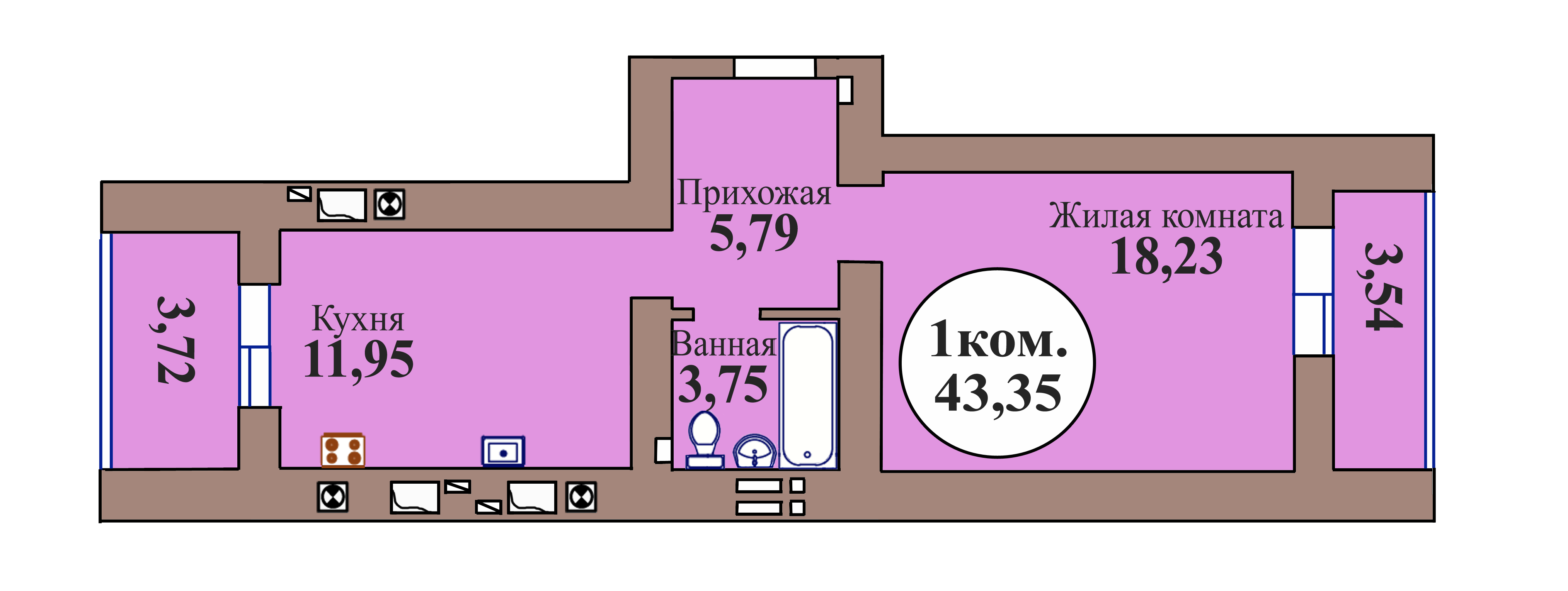 1-комн. кв. по пер. Калининградский, 5 кв. 82 в Калининграде