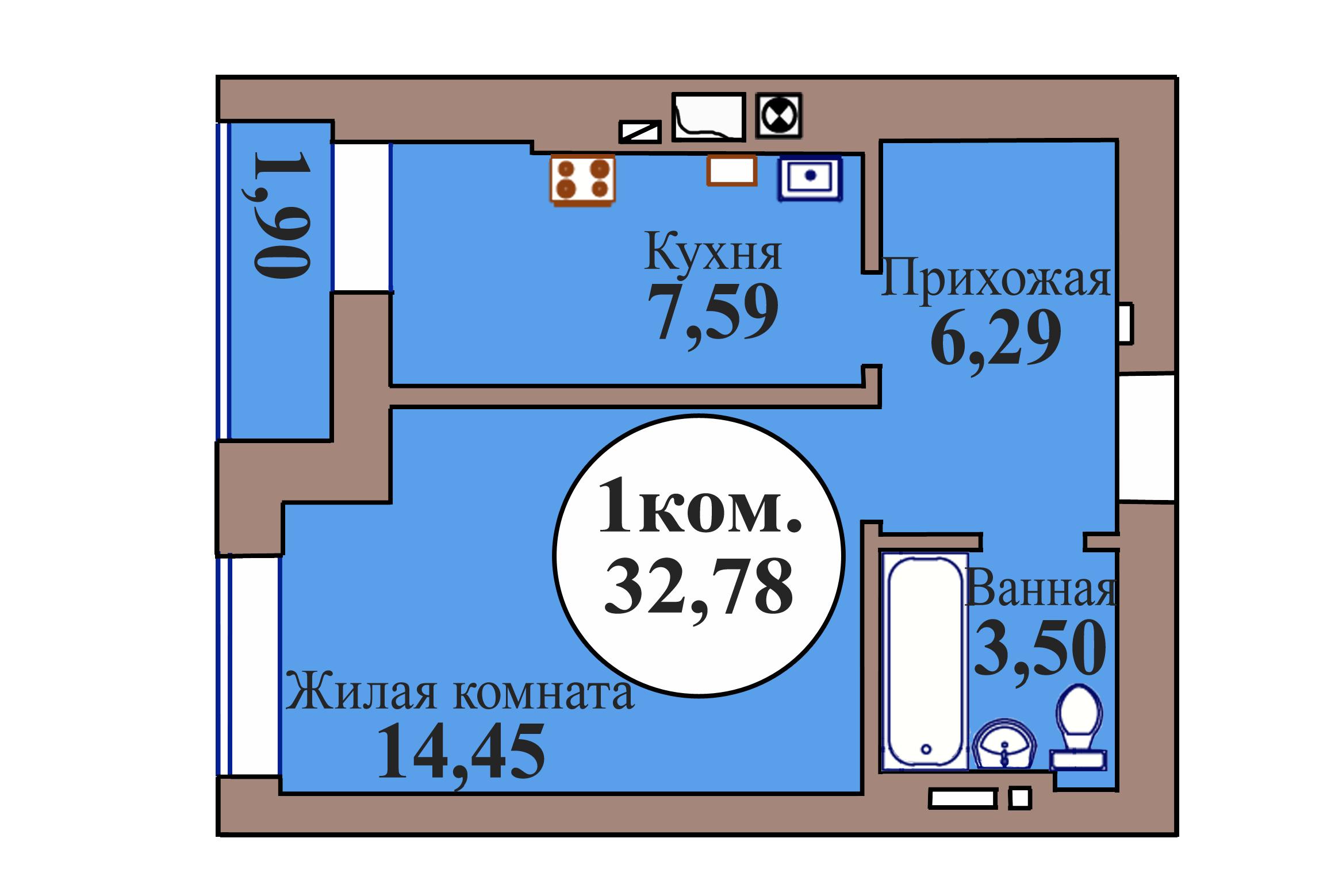 1-комн. кв. по пер. Калининградский, 5 кв. 86 в Калининграде