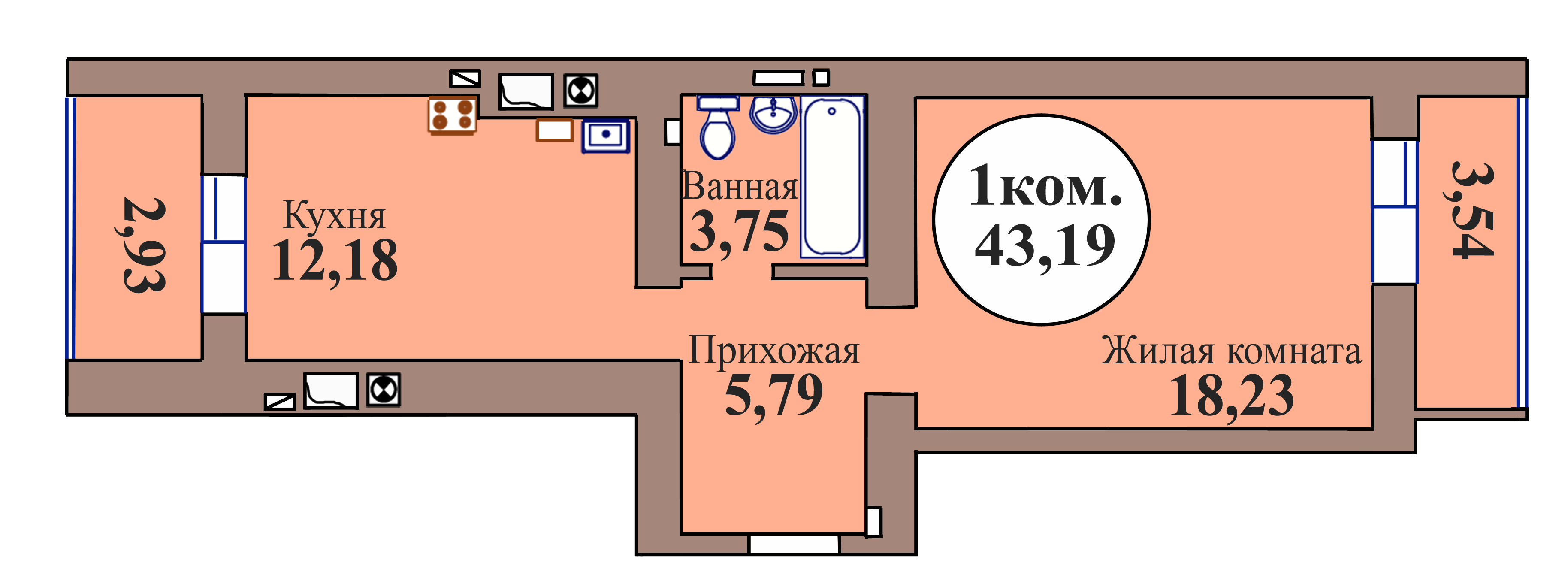 1-комн. кв. по пер. Калининградский, 5 кв. 87 в Калининграде