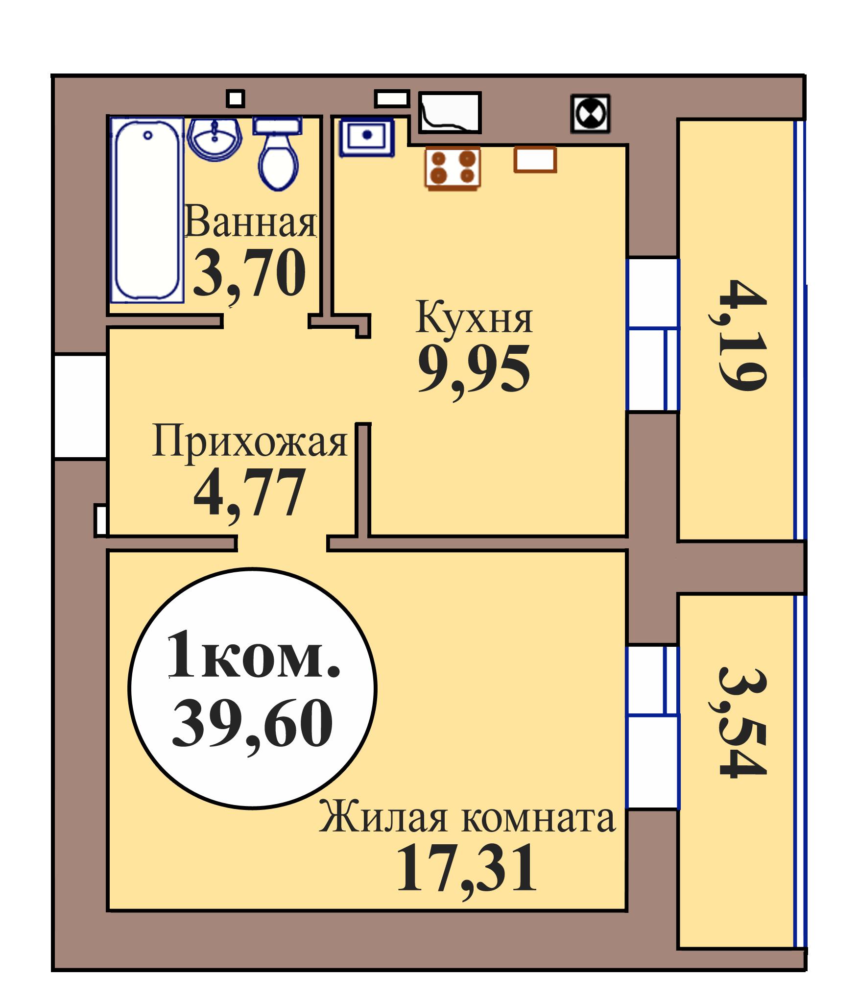 1-комн. кв. по пер. Калининградский, 5 кв. 89 в Калининграде
