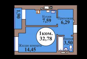 1-комн. кв. по ГП дом №3, МКР Васильково, кв. 94 в Калининграде