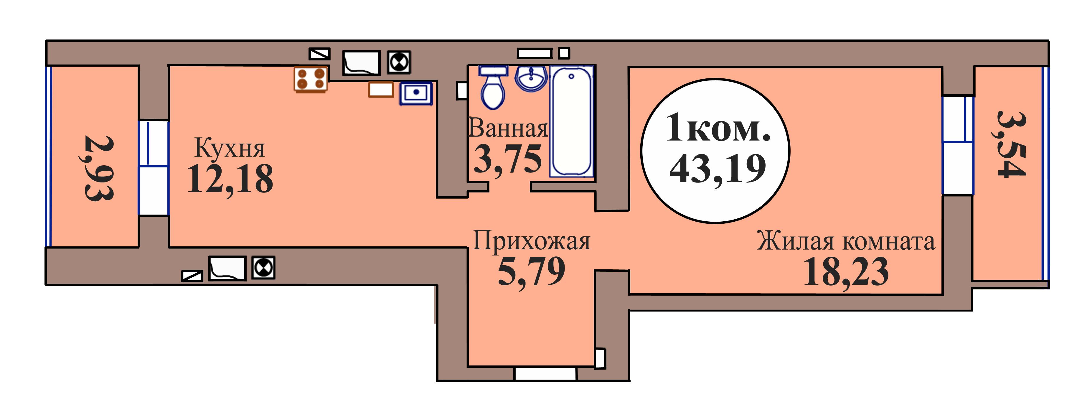 1-комн. кв. по пер. Калининградский, 5 кв. 95 в Калининграде