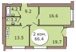 2-комн. кв. по ул. Шахматная, 2Б кв. 133 в Калининграде