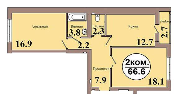 2-комн. кв. по ул. Шахматная, 2А кв. 42 в Калининграде