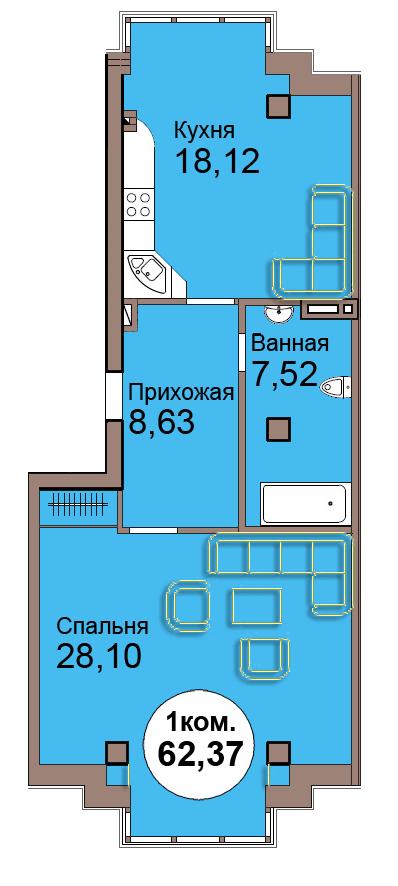 1-комн. кв. по Проспект  Мира, 83 кв. 1 в Калининграде