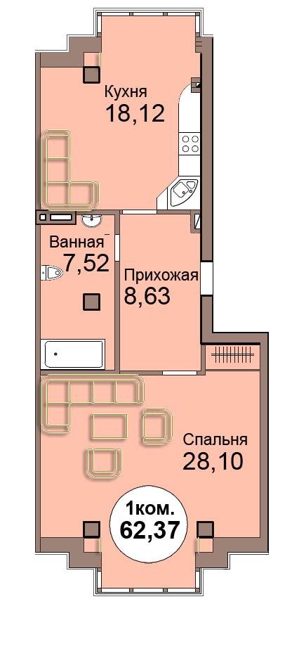 1-комн. кв. по Проспект  Мира, 83 кв. 10 в Калининграде