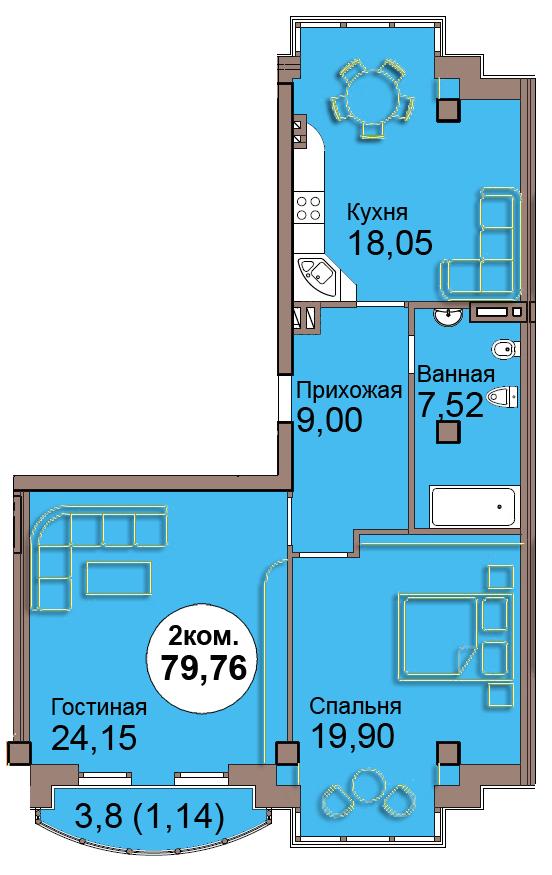 2-комн. кв. по Проспект  Мира, 83 кв. 13 в Калининграде