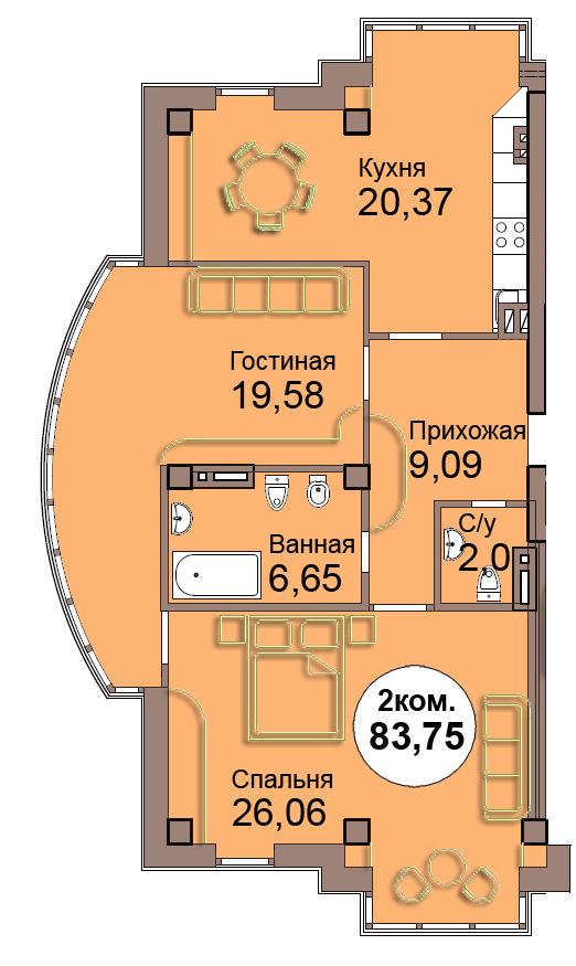 2-комн. кв. по Проспект  Мира, 83 кв. 2 в Калининграде