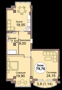 2-комн. кв. по Проспект  Мира, 83 кв. 22 в Калининграде