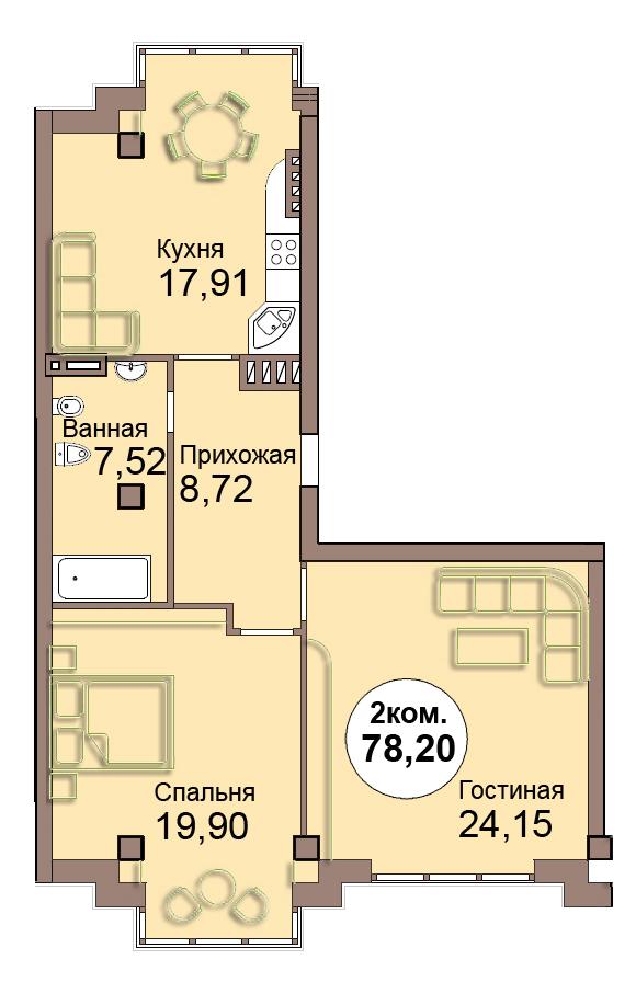 2-комн. кв. по Проспект  Мира, 83 кв. 24 в Калининграде