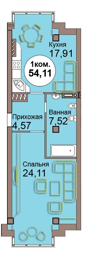 1-комн. кв. по Проспект  Мира, 83 кв. 27 в Калининграде