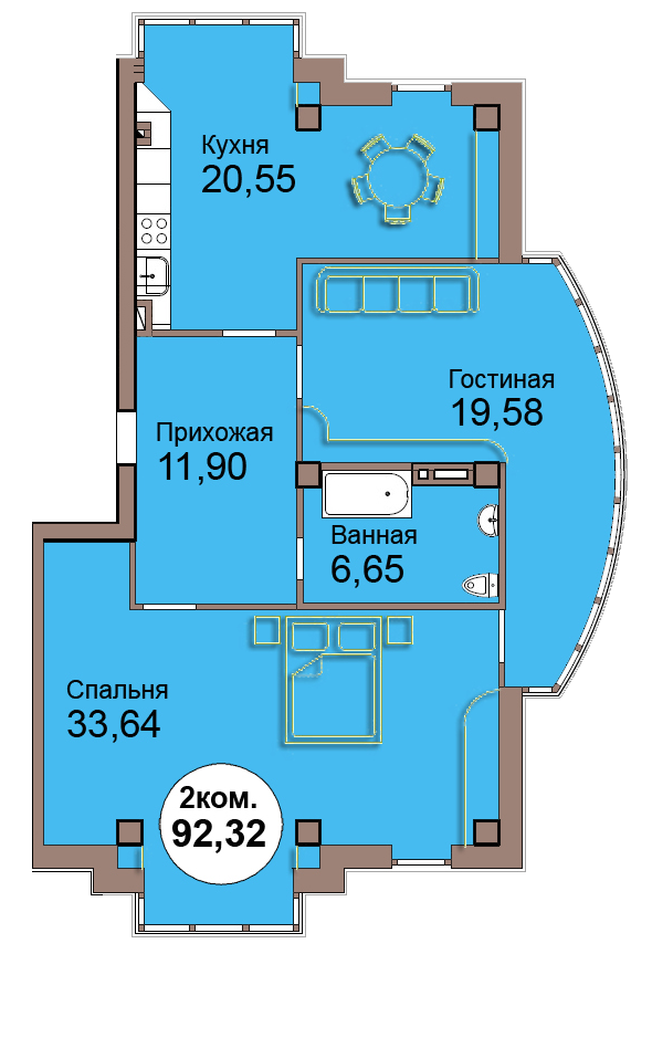 2-комн. кв. по Проспект  Мира, 83 кв. 31 в Калининграде