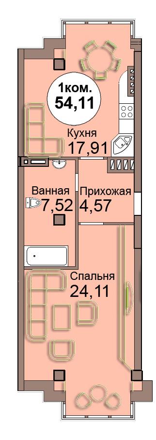 1-комн. кв. по Проспект  Мира, 83 кв. 34 в Калининграде