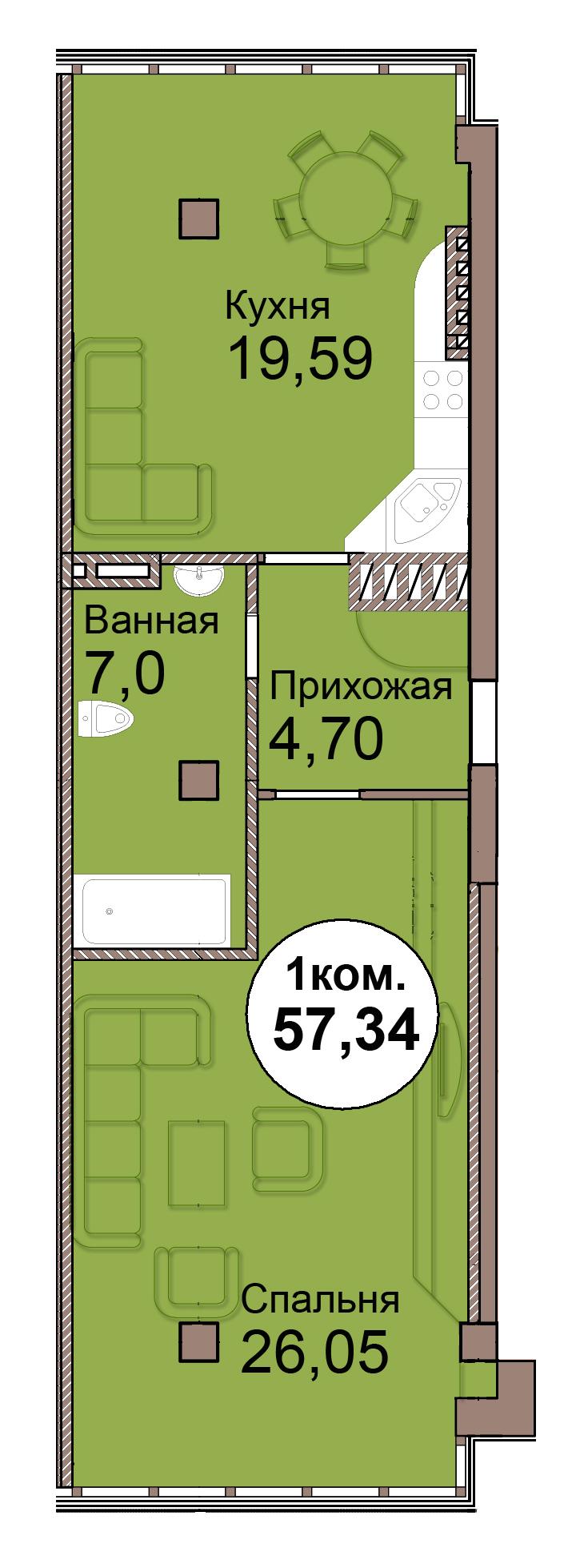 1-комн. кв. по Проспект  Мира, 83 кв. 38 в Калининграде