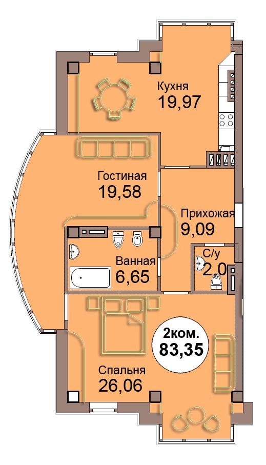 2-комн. кв. по Проспект  Мира, 83 кв. 4 в Калининграде